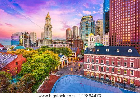 Boston, Massachusetts, USA historic skyline at dusk.