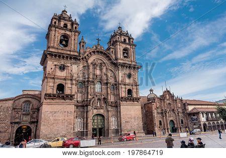 Cusco, Peru- March 17, 2017: La Compania de Jesus ( Company of Jesus ) Church in Cusco Peru