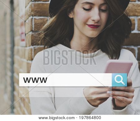 Website WWW Search Bar Magnifying Glass Graphic