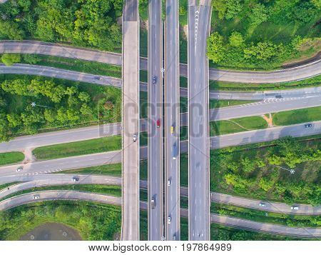 Aerial view road beautiful street roundabout Top view Background Thailand