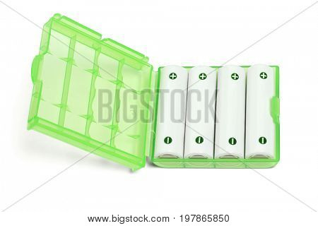 Rechargeable Batteries in Open Green Plastic Case on White Background