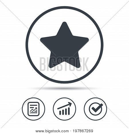 Star icon. Favorite or best sign. Web ranking symbol. Report document, Graph chart and Check signs. Circle web buttons. Vector