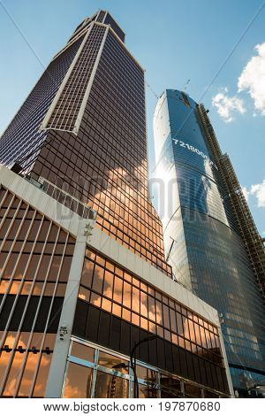 Moscow, Russia - August 06, 2015: Architecture of skyscrapers in Moscow City