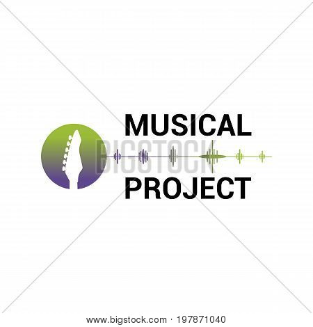 Vector logo template for musical project in green and purple color isolated on white background. Music icon.Image of guitar label for sound recording studio.