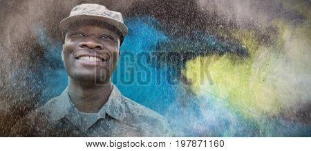 black against portrait of military smiling