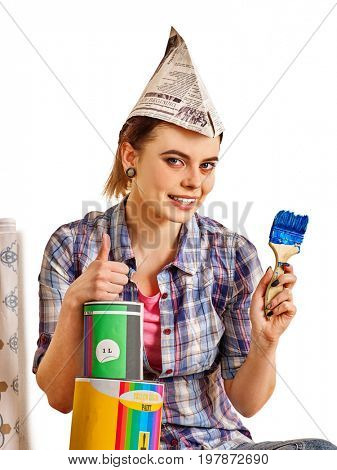 Repair home woman holding paint roller for wallpaper. Aggressive screaming girl in newspaper cap renovation apartment on isolated. Tired of work as student. She took out a loan for repairs.