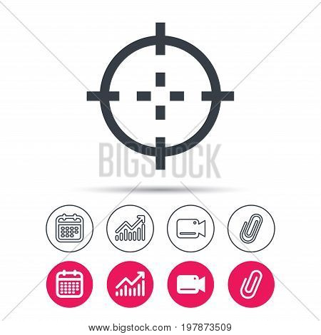 Target icon. Crosshair aim symbol. Statistics chart, calendar and video camera signs. Attachment clip web icons. Vector