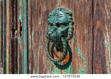 Bronze metal doorknob in the shape of lion head on old wooden door.