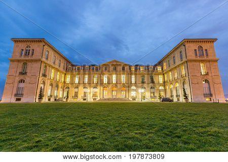 Marseille Palais du Pharo night - France