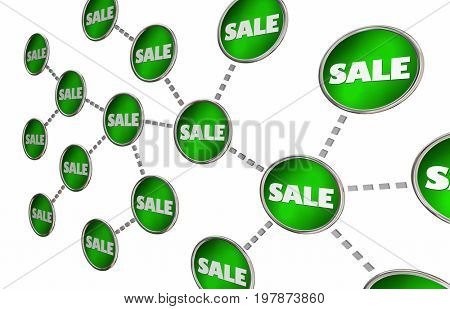 Sales Increasing Multiplying Connected Circle Network 3d Illustration