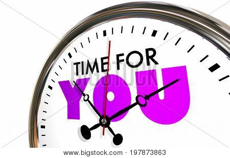 Time for You Free Moments Clock Hands Ticking 3d Illustration