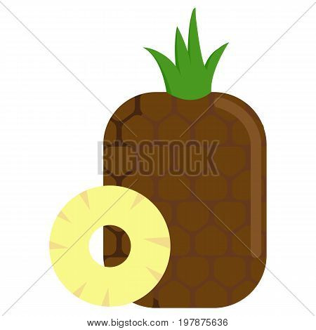 Pineapple with sliced flesh icon, vector illustration flat style design isolated on white. Colorful graphics