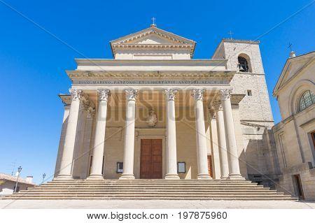 Basilica del Santo church front facade in the Republic of San Marino.