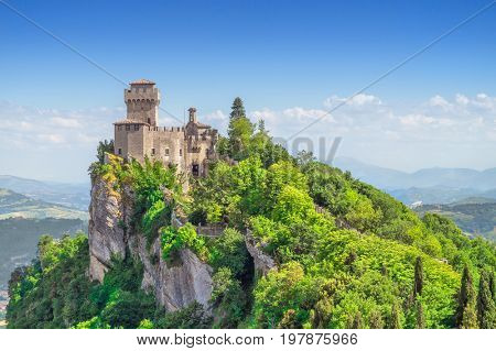The Cesta Tower on Monte Titano in San Marino. The main of three medieval towers which is symbol of San Marino.