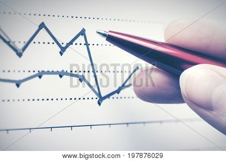 Financial graphs analysis. Stock market reports