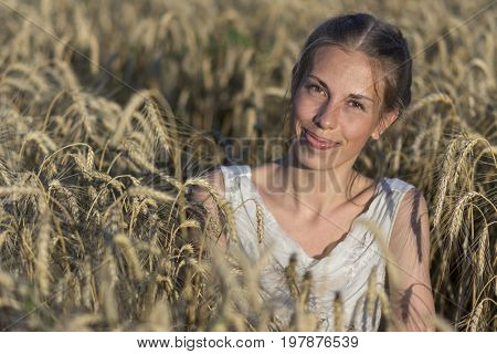Beautiful woman in wheat at sunset. Stock photo