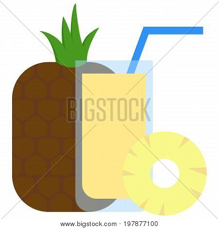 Fresh pineapple and pineapple cocktail icon, vector illustration flat style design isolated on white. Colorful graphics