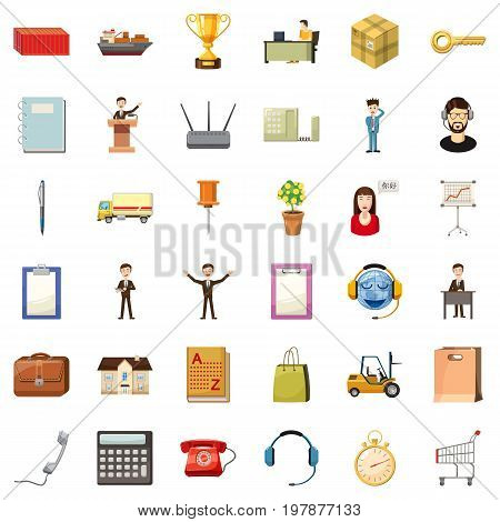 Finance business icons set. Cartoon style of 36 finance business vector icons for web isolated on white background