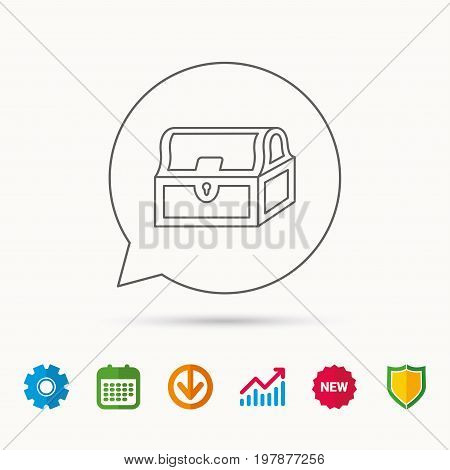 Treasure chest icon. Piratic treasury sign. Wealth symbol. Calendar, Graph chart and Cogwheel signs. Download and Shield web icons. Vector