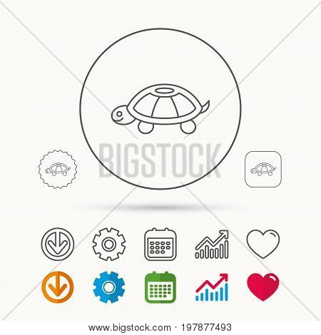 Turtle icon. Tortoise sign. Tortoiseshell symbol. Calendar, Graph chart and Cogwheel signs. Download and Heart love linear web icons. Vector