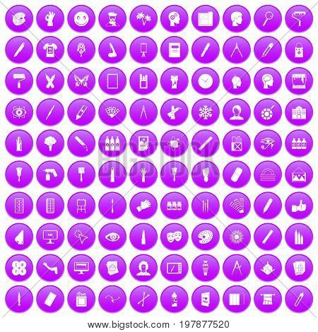 100 paint icons set in purple circle isolated vector illustration