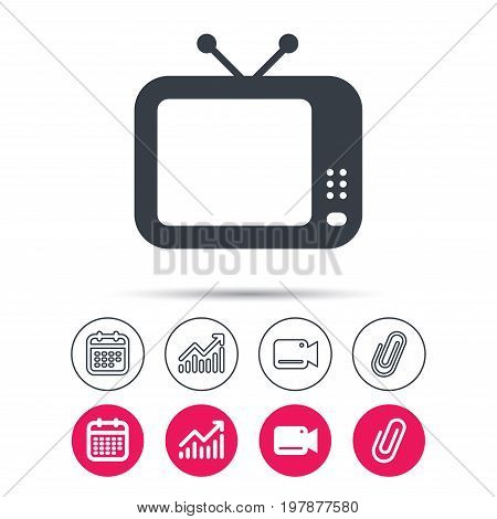 TV icon. Retro television symbol. Statistics chart, calendar and video camera signs. Attachment clip web icons. Vector