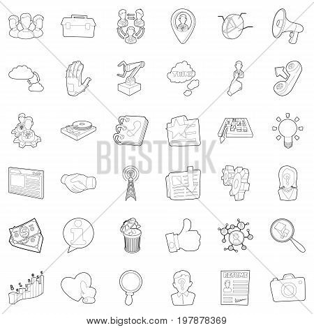 Businesswoman icons set. Outline style of 36 businesswoman vector icons for web isolated on white background