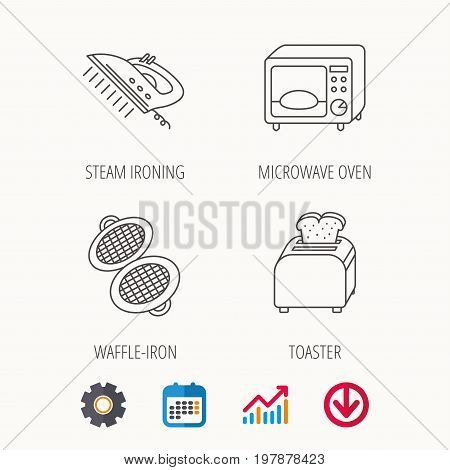 Microwave oven, waffle-iron and toaster icons. Steam ironing linear sign. Calendar, Graph chart and Cogwheel signs. Download colored web icon. Vector
