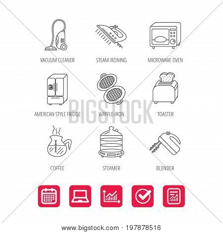 Microwave oven, coffee and blender icons. Refrigerator fridge, steamer and toaster linear signs. Vacuum cleaner, ironing and waffle-iron icons. Report document, Graph chart and Calendar signs. Vector
