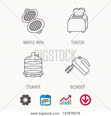 Waffle-iron, toaster and blender icons. Steamer linear sign. Calendar, Graph chart and Cogwheel signs. Download colored web icon. Vector
