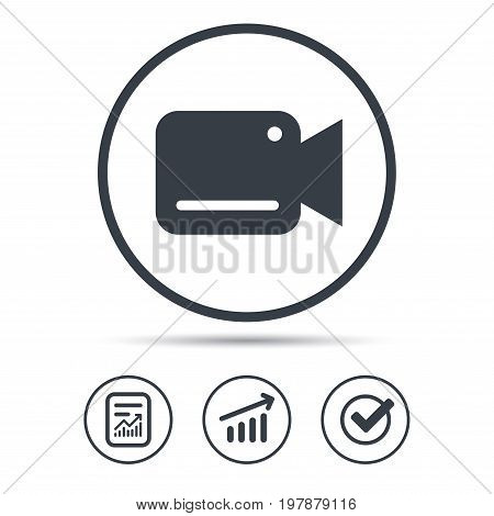 Video camera icon. Film recording cam symbol. Security monitoring. Report document, Graph chart and Check signs. Circle web buttons. Vector