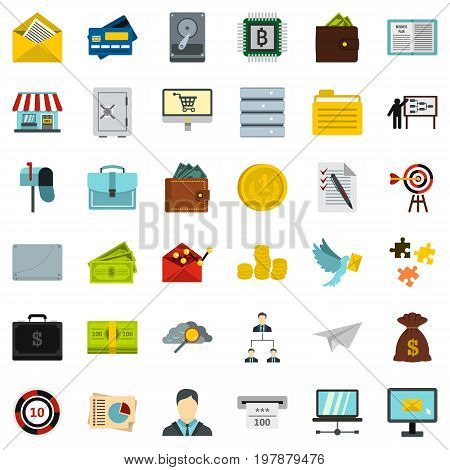 Business contract icons set. Flat style of 36 business contract vector icons for web isolated on white background