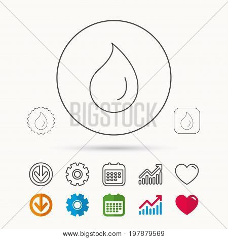 Water drop icon. Liquid sign. Freshness, condensation or washing symbol. Calendar, Graph chart and Cogwheel signs. Download and Heart love linear web icons. Vector