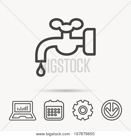 Water supply icon. Crane or Faucet with drop sign. Notebook, Calendar and Cogwheel signs. Download arrow web icon. Vector