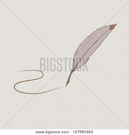 Brown feather with a metal tip in retro style on a beige background with a drawn out stroke. The image can be an illustration for literature an independent icon or part of the composition