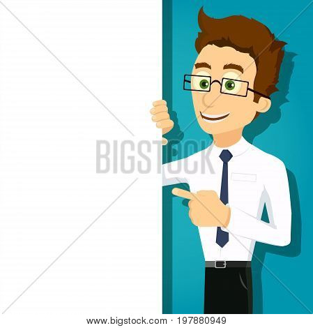 Businessman is showing his finger at the white banner. Blank sheet of paper for text. Stock vector cartoon illustration.