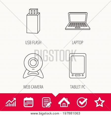Web camera, USB flash and notebook laptop icons. Tablet PC linear sign. Edit document, Calendar and Graph chart signs. Star, Check and House web icons. Vector