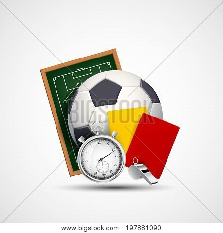 Sports icon. Soccer ball whistle with a stopwatch yellow and red card referee. Stock vector illustration.