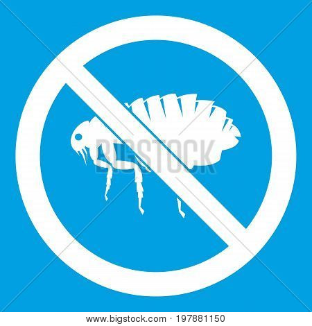 No flea sign icon white isolated on blue background vector illustration