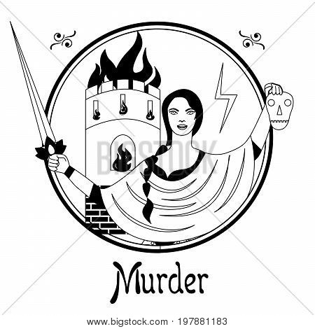 Illustration with a woman on the theme of murder.