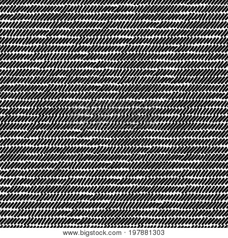 Black and white rug woven striped fabric seamless pattern, vector background
