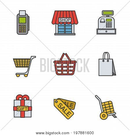Shopping color icons set. Cash register, bag, tags, basket on wheels, store, gift box. Logo concepts. Vector isolated illustration