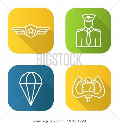 Pilot flat linear long shadow icons set. Pilot label, aircraft control wheel, parachute symbol. Vector line illustration