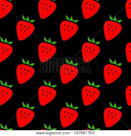 Simple strawberries on black seamless pattern, vector background