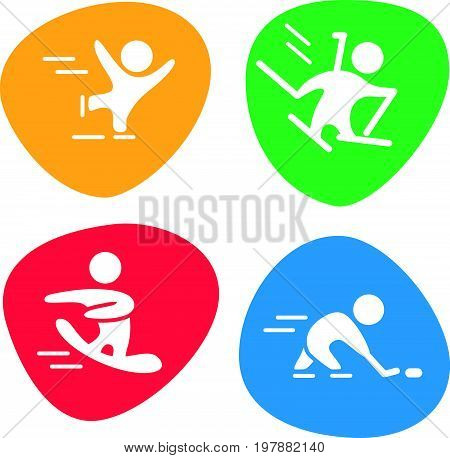 Vector collection of flat sport icons isolated on colorful backgrounds. Winter sports illustration. Human figures. Active lifestyle, season activities. Competition sign and symbol.