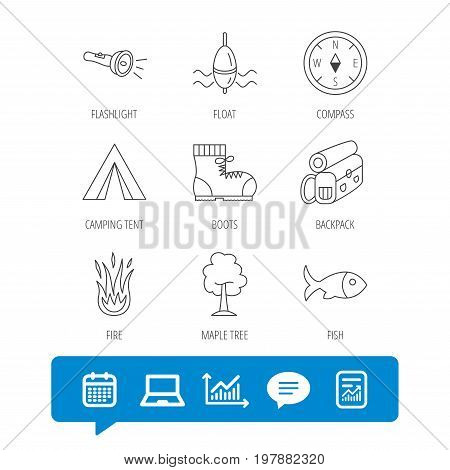 Maple tree, fishing float and hiking boots icons. Compass, flashlight and fire linear signs. Camping tent, fish and backpack icons. Report file, Graph chart and Chat speech bubble signs. Vector