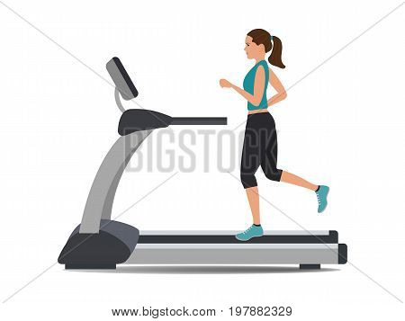 Young woman in a sporty uniform is running on a treadmill. Vector illustration.