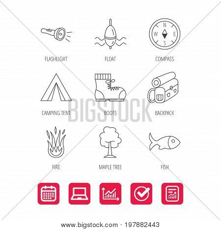 Maple tree, fishing float and hiking boots icons. Compass, flashlight and fire linear signs. Camping tent, fish and backpack icons. Report document, Graph chart and Calendar signs. Vector