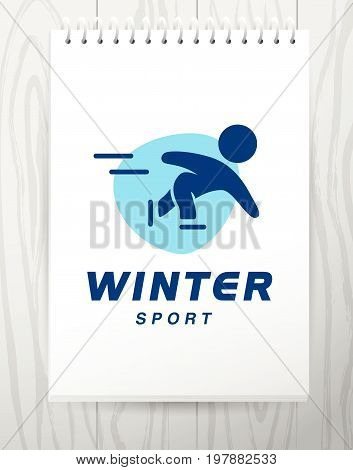 Vector flat simple sport logo design isolated on white background. Human active winter sport athlete figure silhouette. Figure skating, short track racing competition emblem.