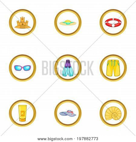 Water recreation icons set. Cartoon set of 9 water recreation vector icons for web isolated on white background